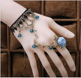 red flowering vines NZ - Temperament Retro Antique Crystal Lolita Lace Rose Flower Vine Lobster Charm Bracelet with Index Finger Ring Mix Wholesale