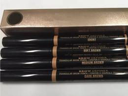 MAQUIAGEM Duplo lápis de sobrancelha BRACE LÁPIS CRAYON EBONY / SOFT BROWN / MARROM MARROM / MARROM ESCURO / chocolate DHL Frete grátis