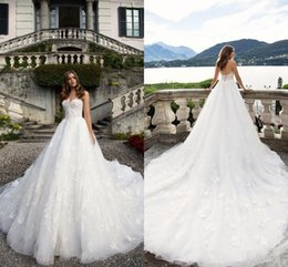 Superbe Robe De Mariée De La Cathédrale Sweetheart Pas Cher-Gorgeous Sweetheart Backless Robes de mariée White Appliqued Cathedral Train Long Robe de mariée Vestidos De Novia Robe de mariée