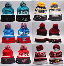 Skull tieS online shopping - Winter Beanie Hats for Men Knitted NHL Wool Hat Gorro Bonnet with San Jose Sharks Beanie Boston Bruins Pittsburgh Penguins Winter Warm Cap