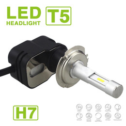 Audi turbine online shopping - 2017 Set H7 Turbine T5 LED Headlight Slim Kit W LM Auto Car CSP Y19 Chips All in one Pure White K Adjust Angle Driving V DC