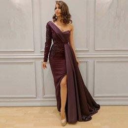 Discount one sleeve prom dresses slit - New Burgundy Long Sleeves Evening Dresses Straight One Shoulder Beaded Sequined Sexy Slits Robe De Soiree Prom Dress Ins