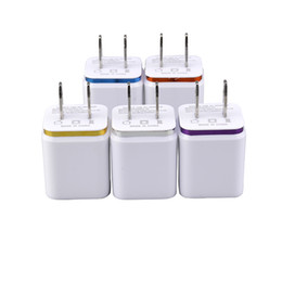 Charging Ports For Tablets Canada - Metal Dual USB wall Charging Charger US EU Plug 2.1A AC Power Adapter Wall Charger Plug 2 port for Iphone Samsung Galaxy Note LG Tablet Ipad