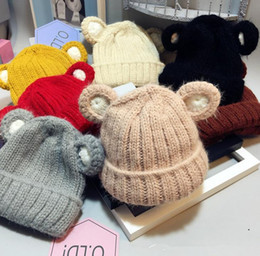 Barato Urso De Malha-New Autumn Winter Kid Baby Girls Boys Cartoon Urso Orelhas Hat Kids Knitted Beanies Caps Crianças Warm Hats 7 Colors M101
