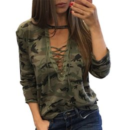 $enCountryForm.capitalKeyWord Canada - Autumn Lace Bandage Camouflage T-shirts For Women Sexy Long Sleeves Clothes Hollow Out Army Green Shirts Top