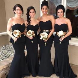 Blue sashes Belts online shopping - Black Sweetheart Elegant Mermaid Arabic Long Bridesmaid Dresses Gold Belt Satin Bridesmaid Dress Cheap Prom Party Gowns