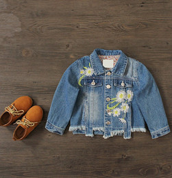 Embroidery flowers kids jeans online embroidery flowers kids 2017 spring childrens clothes boys girls tops kids jackets korean style outwear denim jeans flower embroidery jacket q0748 ccuart Images