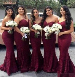 Barato Laço Vestido De Dama De Honra Querida Pescoço-Sweetheart-Neck Lace Long Mermaid Borgonha Vestidos de dama de honra 2017 Backless Maid of Honor Vestidos Formal Wedding Guest Dresses Custom