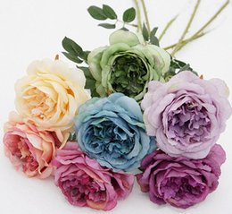 white tea roses artificial 2019 - 20Pcs lot Rose Flowers Artificial Flowers Simulation Single Painting Tea Rose for Table Flowers Wedding Home decoration