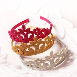 Discount crown for head - 15Pcs   Lot Princess Crown Headband Glitter Felt Vintage Gold Silver Tiara Hairbands Birthday Gift Party Head Accessory