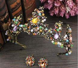 $enCountryForm.capitalKeyWord Australia - Queen Crown Tiara Princess Wedding Bridal Crystal Rhinestone Headband Hair Accessories Band Headpiece Jewelry Set Black Gold Headdress Band