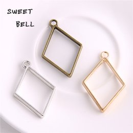 $enCountryForm.capitalKeyWord Canada - Min order 30pcs 26*40mm Alloy jewelry setting accessories rhombus charms Hollow glue blank pendant tray bezel charms DIY Handmade D6098-1
