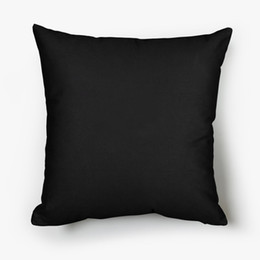 Wholesale screen for printing resale online - 18x18 inches trendy black throw pillow case cotton canvas plain black pillow cover for screen printing