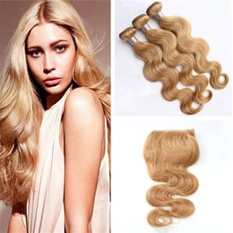 human hair 27 Canada - Indian Blonde Virgin Hair Extensions With Lace Closure #27 Honey Blonde Body Wave Human Hair Weaves 3 Bundles With 4*4 Top Closure