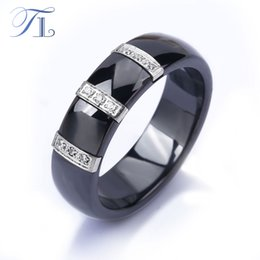 UniqUe rings for women designs online shopping - TL Ceramic Rings For Women Three Lines Inlaid Zircon Cubic Unique Design Cheap Cocktail Rings Wedding Jewelry