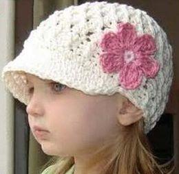 Baby Boy Skull Crochet Beanies Canada - Cute Flower Hat Baby Kids Infant Toddler Girls Newborn Autumn Winter Children Beanie Crochet Knitted Skull Cap 100% Cotton Photography Props