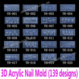 $enCountryForm.capitalKeyWord Australia - Wholesale- 3d Acrylic Nail Template Acrylic Nail Carving Mold Nail Art Template in 139 Designs Pattern Decoration Soft Silicon Gel Tools