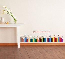 $enCountryForm.capitalKeyWord Canada - SK7014 Color Pencil Baseboard Wall Stickers Drawing A Colorful Life Quote Vinyl Stickers For Living Room Kids Room Wall Decor