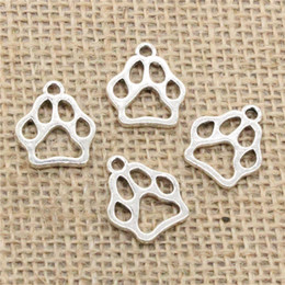 Dog Plates Australia - Wholesale 90pcs Charms Tibetan Silver Bronze Gold Plated dog bear paw 19*17mm Pendant for Jewelry DIY Hand Made Fitting