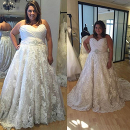 Chinese  Plus Size Wedding Dresses 2019 Sweetheart Vestido De Noiva A Line Lace Wedding Dress for Fat Women Custom Made Vintage Wedding Dresses manufacturers