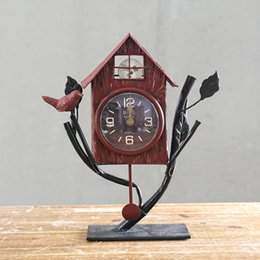 Fashion Creative European Rural Silent Bedroom Decorative Bird House Desk  Clock
