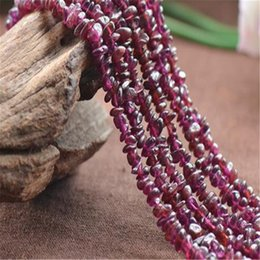 garnet strings 2019 - Garnet Beads Stone Irregular Natural Gravel Diy Charm for Jewelry Making Findings a String of Beads 78cm DHL Accessories