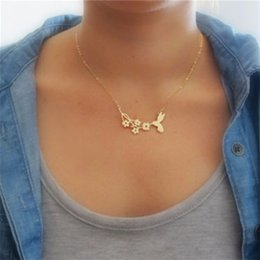 flower bird pendant necklace Australia - Fashion lovely bird on branch necklace fashion pendant women necklace Hummingbird and flower charm necklace jewelry