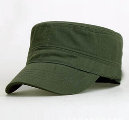 Flat Hats For Women Canada - Wholesale 10 pcs Unisex Flat Top Military Hats Solid Adjustable Cadet Army hat Adult Spring Autumn Cotton Caps for Men Woman CS-220