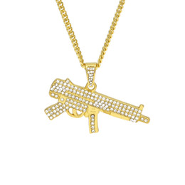 $enCountryForm.capitalKeyWord UK - Hip Hop Cool Z-84 Submachine Gun Necklace With Rhinestone Gold Plated AK47 Gun Pendant For Men Women Fashion Jewelry