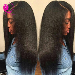 Lace wigs yaki naturaL online shopping - Light Yaki Straight Lace Front Wig with Baby Hair for Black Women Unprocessed Brazilian Virgin Human Hair Full Lace Wig For Black Women
