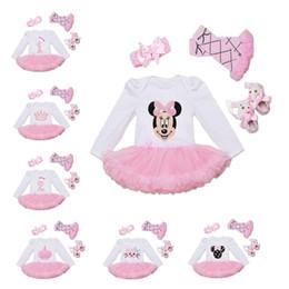 $enCountryForm.capitalKeyWord NZ - Baby girls cotton long sleeved one-piece skirt romper dress + bowknot headband+ flower socks + soft shoes 4 pec sets