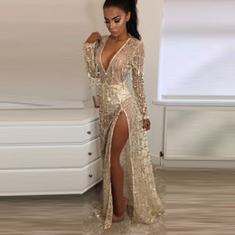 Mesdames Pas Cher-New Sheer Maxi Party Dress Sexy Cover-Up Robes Long Sleeve V-Neck Sequin Tassel Cocktail Robe de soirée Ladies Going Out Robes KLG0710