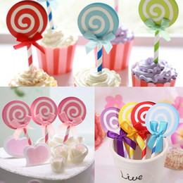 $enCountryForm.capitalKeyWord Australia - Wholesale-6PCS Cute Lollipop Party cupcake toppers picks decoration for Kids Birthday party Cake favors Decoration supplies