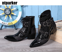 Ankle High Cowboy Boots Men Canada - Western Cowboy Boots Men 6CM Pointed Toe High Top Dress Boots Man Fashion Buckle Lace Up Ankle Boot Black Short Boot Man, EU38-46!