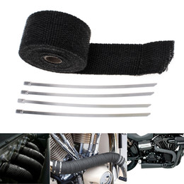 Großhandel Hohe Qualität 16.5Ft Roll Schwarz Fiberglas Auspuffrohr Heat Wrap Band + 4 Krawatten Kit CAL_602
