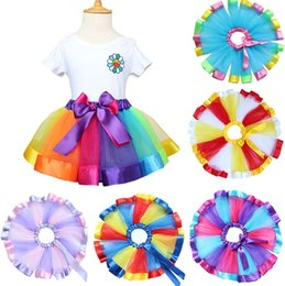 Jupe Tutu En Bambou En Gros Pas Cher-Vente en gros Filles Bébé Jupes pour enfants Vêtements Gauze Rainbow Dancewear Jupe Toddler Vêtements Vêtements Ball Gown tutu Robe Cosplay Costumes