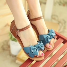 cheap summer flats for women Canada - 7 Colors Wholesale Cheap New Summer Sweet Sandals Shoes For Women Bowknot PU Leather Flat Sandal,EUR Size:34-43
