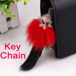 cute fur animal keychain Canada - 2017 Cute Fox Fur Keychain Fox Tail Key Chain Fur Pompom Keyrings Bag Charm For Women Accessorice FBA Drop Shipping B553Q
