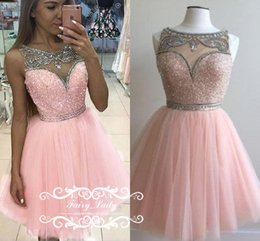 Robe Courte Gonflée Pas Cher Pas Cher-Cheap Short Pink Puffy A Line Homecoming Robes avec perles en cristal d'argent Sheer Neck Illusion Bodice Junior Mini Dress Party Prom Gown