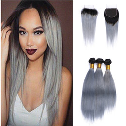 $enCountryForm.capitalKeyWord Canada - Two Tone 1b Grey Brazilian Virgin Hair Weave Lace Closure With Bundles Straight Human Hair Extensions Ombre Silver Gray Hair With Closure