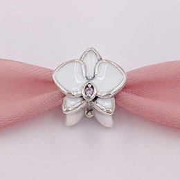 Authentic pAndorA silver necklAce online shopping - Authentic Sterling Silver Beads Orchid White Enamel Charms Fits European Pandora Style Jewelry Bracelets Necklace EN12