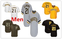 Pirates logos online shopping - Mens Pirates Roberto Clemente Baseball Jersey Black White Gray Grey Gold Green Salute Players Weekend All Star Team Logo Memorial Day
