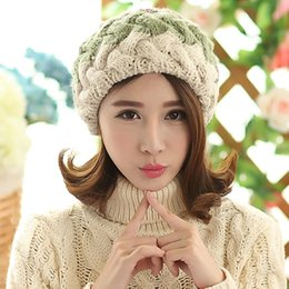 de31bbbef6cc9 Wholesale-Fashion winter berets for women knitted wool flat caps french  style vintage real rabbit fur ball beanie Hat ladies classic beret