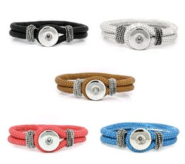 exotic leather wholesale Canada - New Exotic Multicolors PU Leather Noosa DIY Snap Button Bracelet Jewelry for Women 5pcs lot factory price