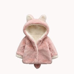 b36f41f2833 Baby Girl Jackets Winter Girls Faux Fur Coat Cute Ear Hooded Infant Kids  Overcoat Children Warm Outerwear