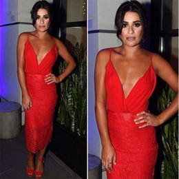 Pictures Lace Red Evening Dresses NZ - Glamorous Red Women Modern Sheath Lace Tea-length Spaghetti Straps Sleeveless Cocktail Party Wear Dress Evening Dress