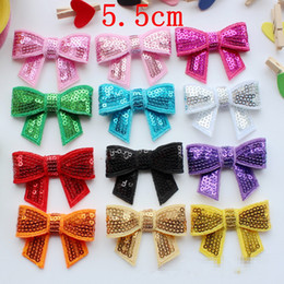 Baby Sequin Hair Clips Wholesale Australia - 50pcs lot 5.5cm Embroidered Sequins Bows WITHOUT Clips DIY Baby Girls Boutique Sequined Knot Glitter Hair Bows Hair Accessories