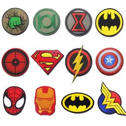 Armée De Dessin Animé Pas Cher-30PCS Cartoon Justice League Super Hero Homme de fer Superman Tactical Patch Embroidered HookLoop Badge Army 3D Anime Game Badge