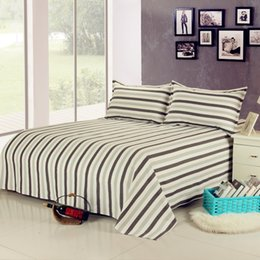 100 cotton simple stripe bed sheet and pillowcases set cool and breath freely free shipping
