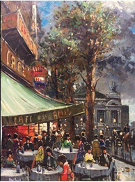 $enCountryForm.capitalKeyWord Canada - Paris Cafe Street Scene Palais Garnier Opera Painting,Handpainted Modern Wall Decor Abstract Art Oil Painting Multi sizes Available desi